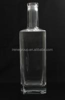 Wholesale empty clear 700ml 750ml vodka alcohol Super flint glass square bottle