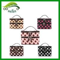 Makeup Bag Organizer With Mirror Double Layer Cosmetic Bag/ polka dot cosmetic bag