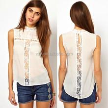 white sexy lace chiffon stitching sleeveless blouse