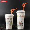 attractive design coffee paper cup with lid ang spoon