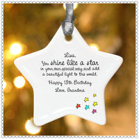 Acrylic White Star Christmas Ornament For Decoration Gifts