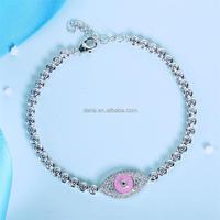 DLY Wholesale Turkish Pink Enamel Evil Eye Bracelet Jewelry In 925 Sterling Silver