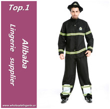 Top quality Black 100% Polyester fireman costume for party