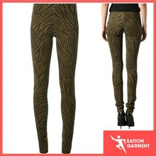 Khaki green leather zebra print trousers casual long skinny pants