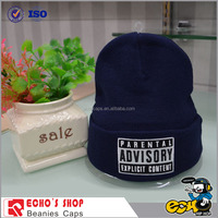 OEM promotional cheap winter Cuff Blank Plain Pom Pom Ski Custom Knitted 100% acrylic Beanie hat
