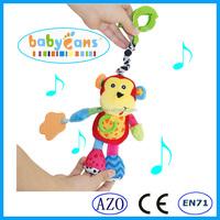 Baby musical hanging toy soft plush monkey toy wholesale baby toys China