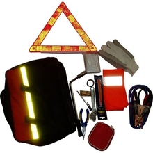 16 kinds of tools warning triangle adhesive bandage raincoats jumper cable car emergency tools