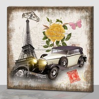 Classic car Canvas Painting with LED Light,canvas picture with led light