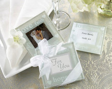 "Factory Price ""Good Wishes"" Pearlized Glass Photo Frame Coaster"