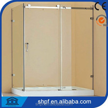 Free standing tempered glass simple enclosed shower cabin