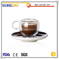Double Wall Glass coffee Cup with handle with sourcer