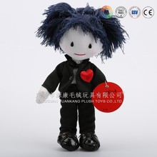 Super quality soft lovely plush boy doll & Handsome black cloth mini boy doll