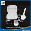 For traveling use and promotion gift computer accessories headphone+2.4G wireless mouse+LED light EVA leather case set