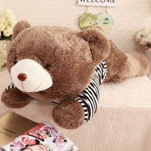 "0.80M/1.20M promotional cusotmzied ""hedgehog""-style sweater lying teddy bear toy with navy knitted striped sweater"