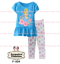 Classic Princess Cinderella Cartoon Character Comic Print Pyjama Nightwear Loungewear Homedress Whole
