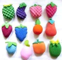 fruit shaped and colourful bath sponges