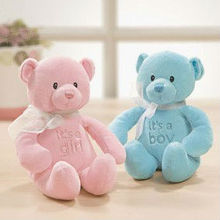 Soft Toys Welcome Little One (girl) Gund pink Baby Teddy bear with an embroidered nose and eyes and wears a white ribbon