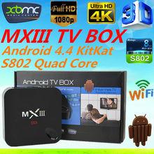 Mx mx3 xbmc kodi amlogic s802 mxiii tv box quad core android smart tv box MxIII Mx3 android tv box paypal escrow payment accept