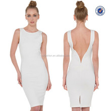 Latest design sleeveless sexy back open sky falls down white evening dress 2015