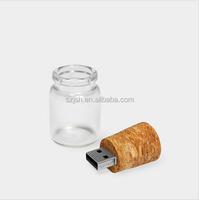 Customized Wooden Drift Secret bottle USB Flash Memory USB 2.0