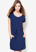 la mujer azul botón de manga corta cintura con cordón de moda vestido de las mujeres de moda nueva 2014 vestidos