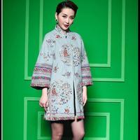 Best Quality Coat Outerwear 2015 Winter Women Vintage Flower Embroidery Retro Button Plus Size Loose Coat Warm Woolen Overcoat