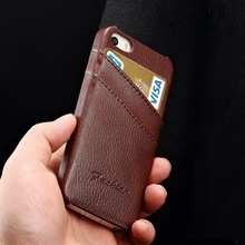 Luxury slim clear engraving brown real leather for Iphone case 5 S
