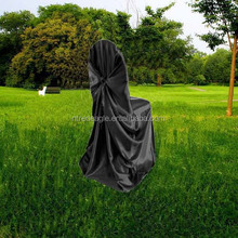 black universal satin chair cover with self-tie, banquet/folding polyester chair cover