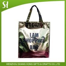 Custom luxury metallic rose gold luster pp non woven tote Hand shopping bag glossy laminate