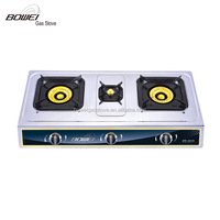 High Pressure Standard Cast Iron Three Burner Table Cooking Cooker Gas Stove