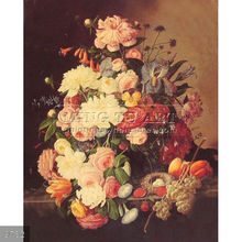 Handmade Classical Still Life Fruit Oil Painting on canvas,Still Life with Flowers Oval