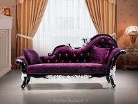 Purple velvet chaise lounge,upholstered chaise lounge,baroque chaise lounge