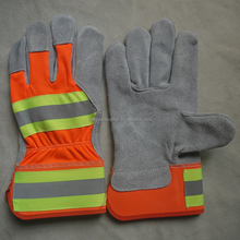 reflective traffic cow split leather gloves