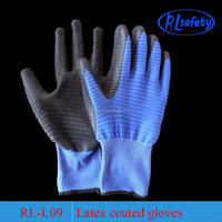 BLUE NYLON men's latex garden glove Made in China