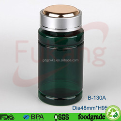 130cc green PET plastic medical bottle,health food PET plastic round pill bottles and aluminum cap factory