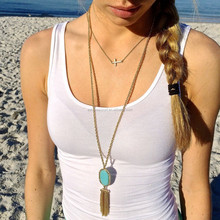 2015 summer Fashion simple jewelry resin oval& gold metal tassel pendant necklace gold thin long chain
