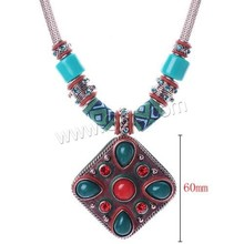 Fashion Statement Necklace, Zinc Alloy, with iron chain & Nylon & Resin