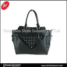 studded black handbag/newest satchel bag for ladies