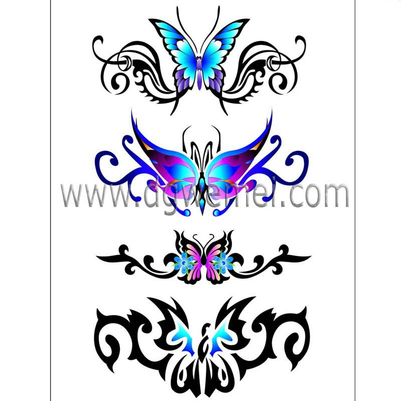 Moda 2013 tribal del tatuaje mariposas para el adulto para mujer