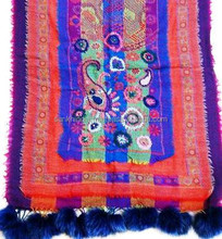 Purple color Hand Embroidered Boiled Wool Women Shawl With Faux Fur Fringes