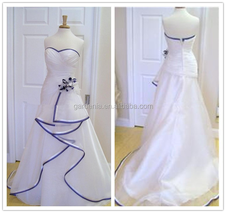 white wedding dress with royal blue trim wedding dresses