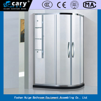 tempered glass round shape single sliding shower door parts