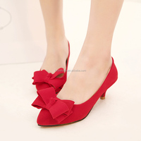 Confortable women's high heel pumps mid heel red shoes wedding shoes bowtie Mujer pointed toe thin heel sapatos