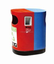 Double color handmade fiberglass street decorative outdoor garbage bin