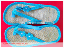 latest style girls high heel flip flops with straw