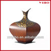 """12.5"""" middle size wooden appearance burgeny handmade iron decorative vase for home decor"""