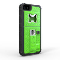 for iphone5s cigarette lighter phone case with beer opener and shock-proof case, plastic+tpu+battery+metal manly case green