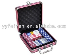100pcs pink aluminum case ,chips can be OME