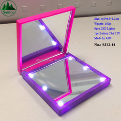 Lady Comestic Plastic Mirror with LED Lights