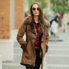 Veri Gude Winter New Fashion Women Long Faux Fox Fur Collar Leather Lining Coat